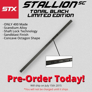 STX Stallion SC Scandium Tonal Black LE Attack Lacrosse Shaft